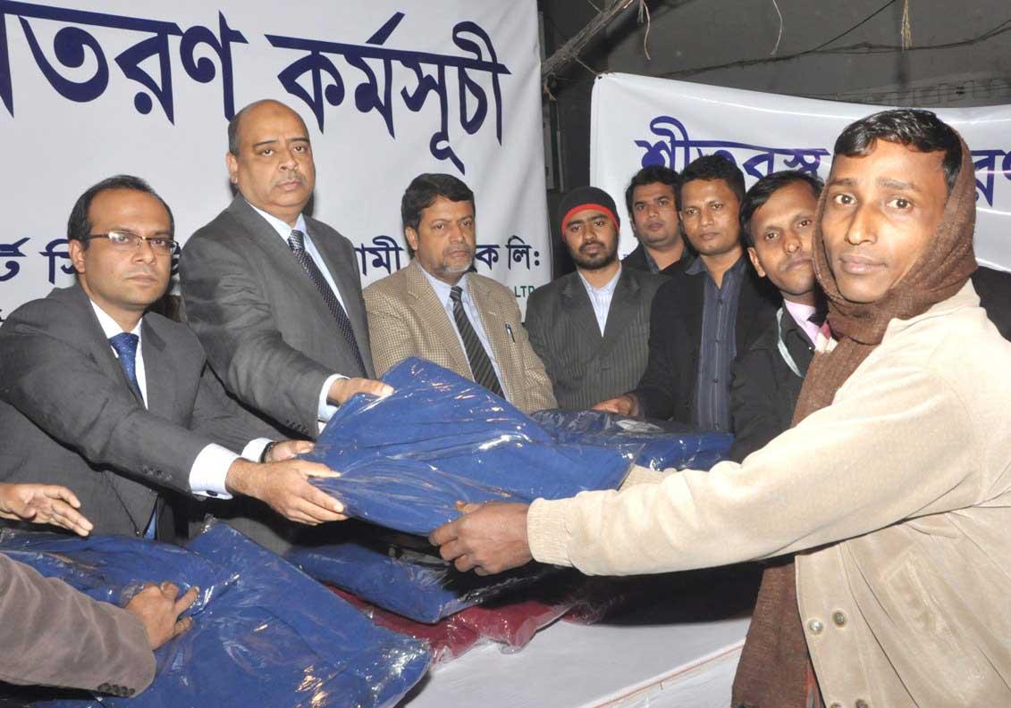 FSIBL Distributed Blankets among Cold-hit People at Karwan Bazar, Dhaka